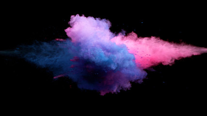 Fototapete - Collision of colored powder isolated on black