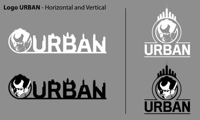 Urban Streetwear Logo design. Face comic characters wearing headphones Monochrome flat vector illustration Logo template type.
