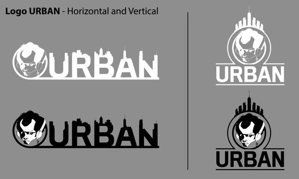 Urban Streetwear Logo design. Face comic characters wearing headphones Monochrome flat vector illustration Logo template type.