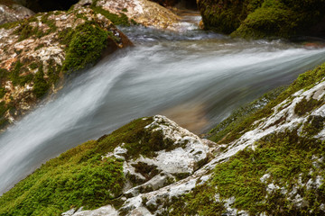 Running water in the falls of Moznica Bovec
