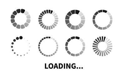 Vector loading icon. Progress bar for upload download round process. Loading icon, element for website. Vector element for web design.