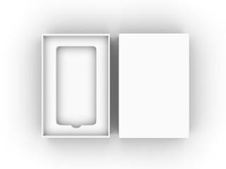 Blank mobile box packaging for branding and mock up. 3d render illustration.