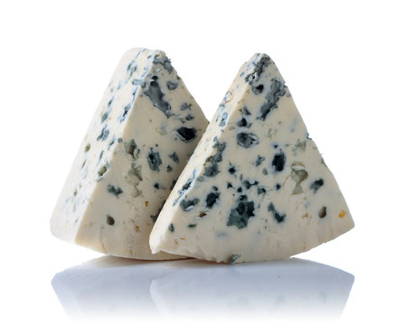 Blue cheese isolated on  white.