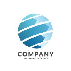 creative tech circle globe logo concept