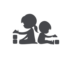 Simple Silhouette of Boy and Girl playing with toy blocks. Can be used as logo or sign. Vector Black and white illustration. isolated.