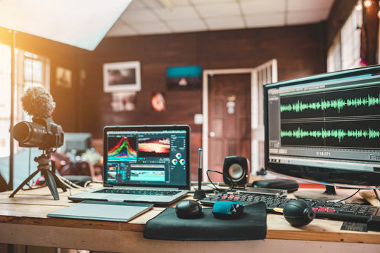 House studio desk of the content creator or Vlog sound engineer create the mixed sound video lifestyle of a freelancer and equipment the laptop camera and monitor preview