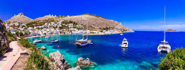 Greek summer holidays - authentic Leros island view of beaiutiful bay Panteli. Dodekanese