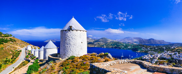 Authentic traditional Greece - windmills of leros island.