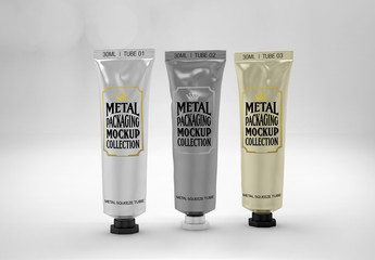 Set of 3 Metal Squeeze Tubes Mockup