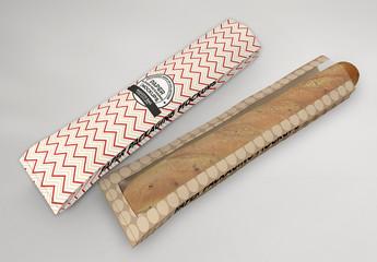 2 Long Baguette Window Paper Bags Mockup