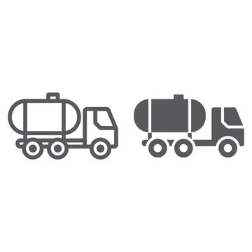 Oil tank line and glyph icon, fuel and car, oil transportation sign, vector graphics, a linear pattern on a white background.