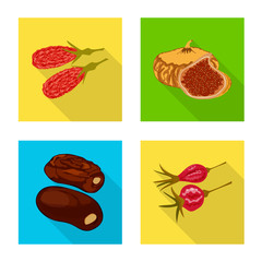 Fototapete - Vector design of fruit and dried logo. Set of fruit and food vector icon for stock.