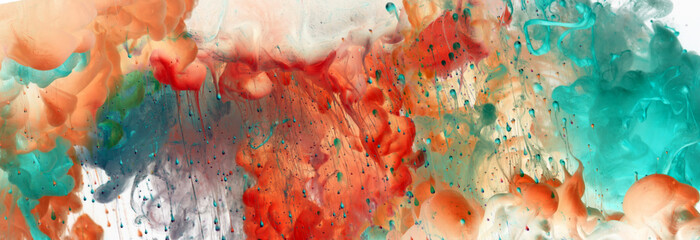 Acrylic blue and red colors in water. Ink blot. Abstract background.