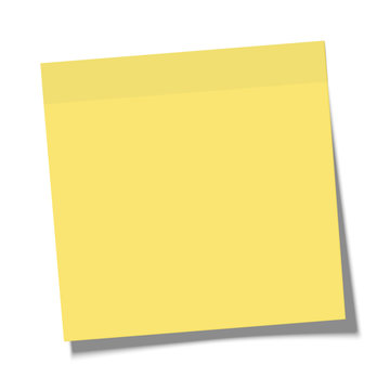 Yellow paper sticky note glued to the surface isolated on white background. Vector illustration.