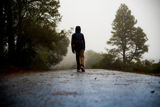 Teenager walking away from camera along foggy trail