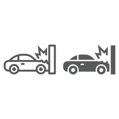 Obraz Traffic accident line and glyph icon, disaster and auto, car crash sign, vector graphics, a linear pattern on a white background. - fototapety do salonu
