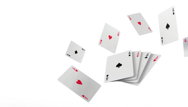 Falling poker playing cards Casino Concept on isolated on white background - 3d rendering