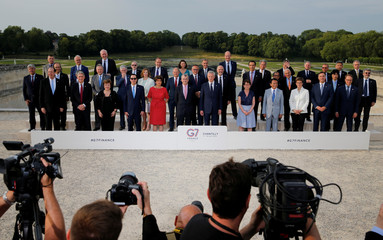 G7 finance ministers and central bank governors pose for a family photo, during the G7 finance ministers and central bank governors meeting in Chantilly