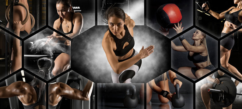 Crossfit collage.. Concept of fitness, motion, sport, bodybuilding, weight loss