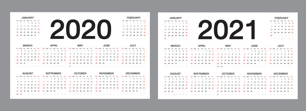 Simple calendar Layout for 2020 and 2021 years on white background, desk calendar, Week starts from Sunday. vector template.