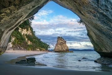 uitzicht vanuit de grot bij Cathedral Cove, Coromandel, Nieuw-Zeeland 23