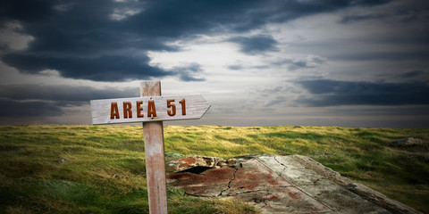 landscape with area 51 sign