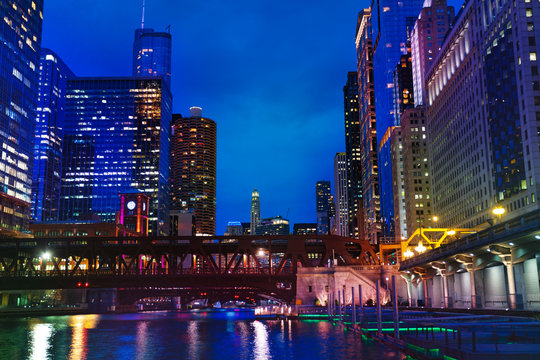 Chicago river and Marina City towers at night, USA