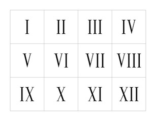 Set of roman numerals isolated on white background. Vector numbers concept. Design element for clock face, banners, posters.