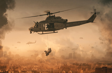 Foto op Canvas Helicopter Military helicopter and forces with dog in destroyed city and soldiers are in flight with a parachute
