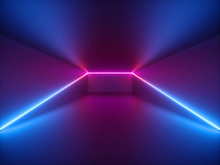 3d render, pink blue neon light, abstract background with glowing lines, cyber space in virtual reality, night club room interior, fashion podium or stage, empty corridor in ultraviolet spectrum