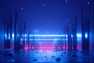 3d abstract neon background, glowing ultraviolet horizontal lines, cyber space, urban scene in virtual reality, empty street in fantastic city skyscrapers under the night sky, post apocalyptic concept Fotomurales