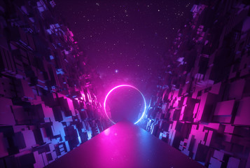 3d abstract neon background, glowing round portal in cyber space, ring shape, fantastic scene in virtual reality, road between walls of blocks under the night sky Wall mural