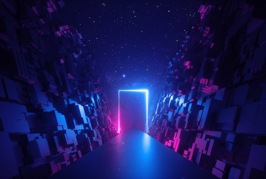 3d abstract neon background, glowing rectangular frame in cyber space, fantastic scene in virtual reality, road between walls of blocks under the night sky