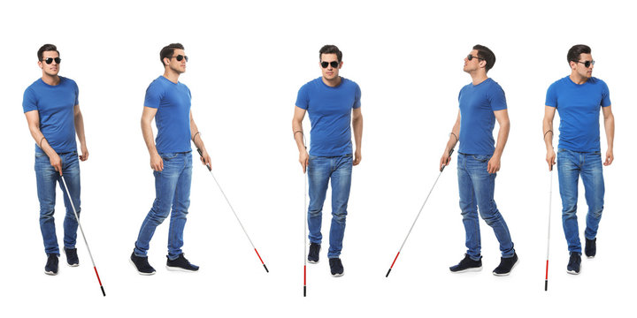 Set of blind man with long cane walking on white background