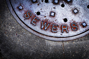 Sewer Manhole cover iron steel access to utility