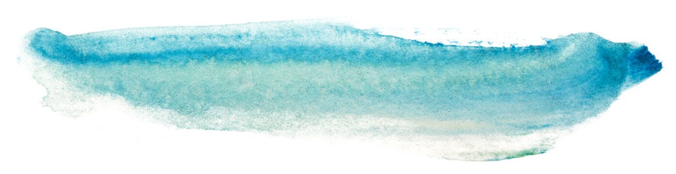 Watercolor blue stain paint. on white background isolated paint texture on textured paper. freehand brush stroke