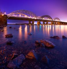 Darnytskyi Bridge ath the night, Kyiv, Ukraine