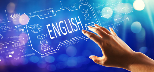 English concept with hand pressing a button on a technology screen