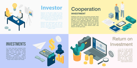 Investor banner set. Isometric set of investor vector banner for web design