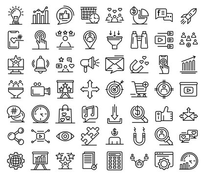 Smm icons set. Outline set of smm vector icons for web design isolated on white background