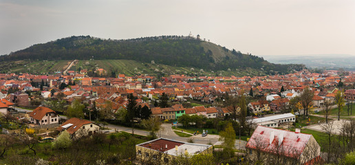 Town of Mikulov and Holly Hill (Svatý kopeček) in Czech Republic