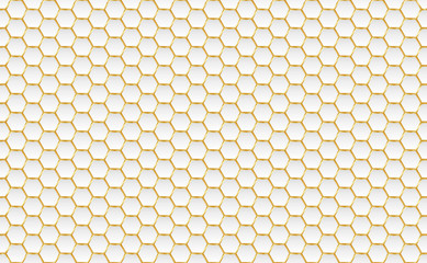 Gold and white honey hexagonal cells seamless texture. Mosaic or speaker fabric shape pattern. Technology concept. Honeyed comb grid texture and geometric hive hexagonal honeycombs. Vector