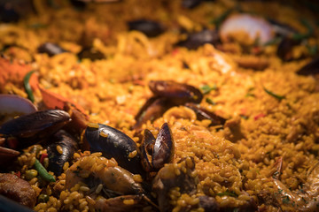 Macro of a Paella at Hotel Xcaret, Mexico