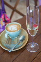 Latte and Bubbly Glass, Brunch time