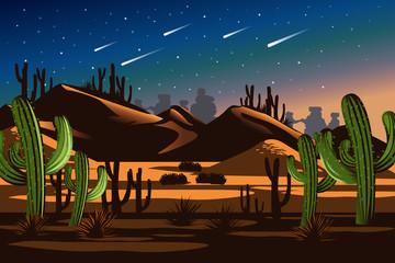 Desert Cactus Nighttime Landscape Nature Illustration