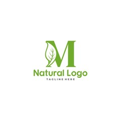 Letter M With Leaf Logo. Green leaf logo icon vector design. Landscape design, garden, Plant, nature and ecology vector. Ecology Happy life Logotype concept icon. Editable file.