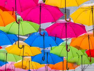 Colorful Umbrellas with Rain