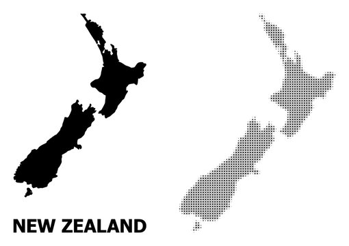 Vector Halftone Mosaic and Solid Map of New Zealand
