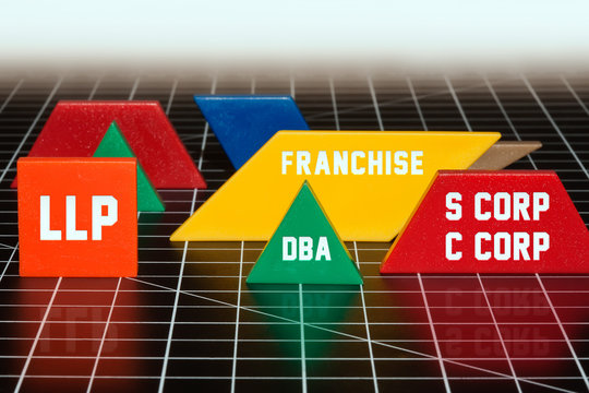 Types of business structures that dominate the market, LLP, DBA, franchise, S corp and C corporation.