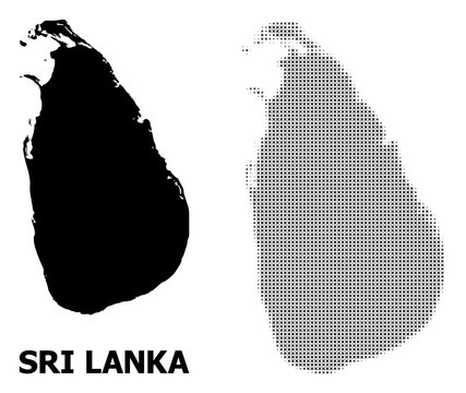 Vector Halftone Pattern and Solid Map of Sri Lanka